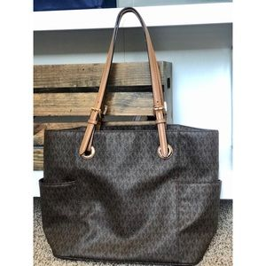 Michael Kors Brown w/ Gold MK Bag Buckle Strap